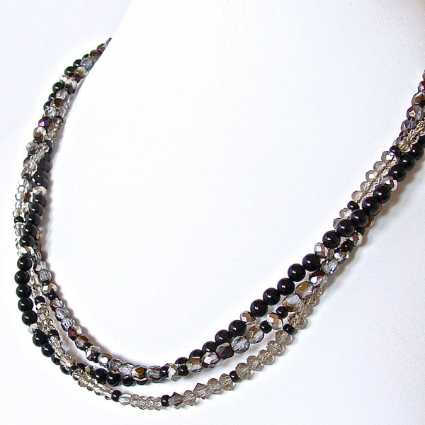 Twister: Handmade Black and Silver Necklace