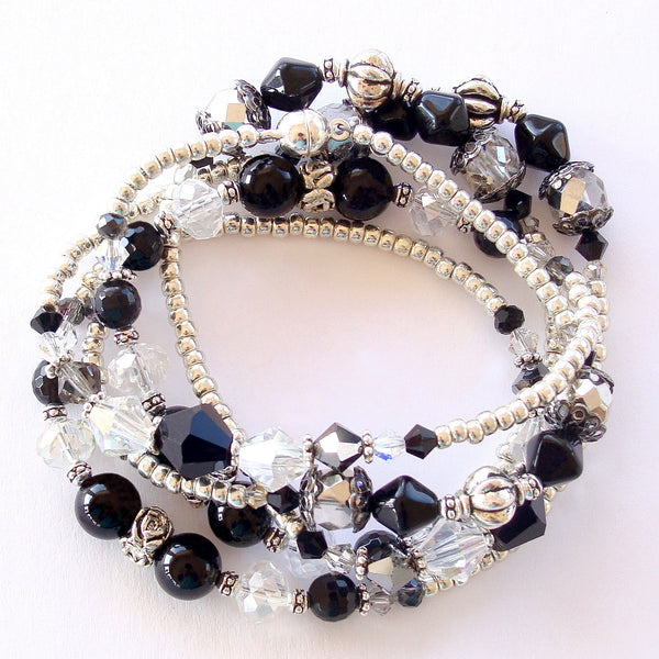 Black and Silver Wrap Bracelet