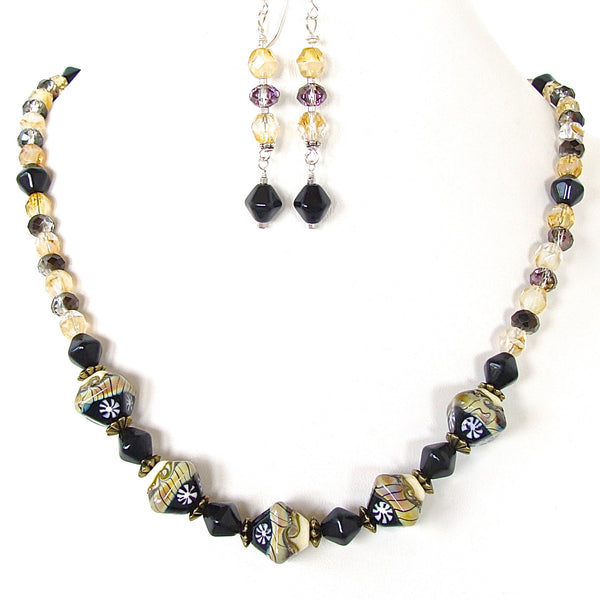 Black and yellow beaded necklace