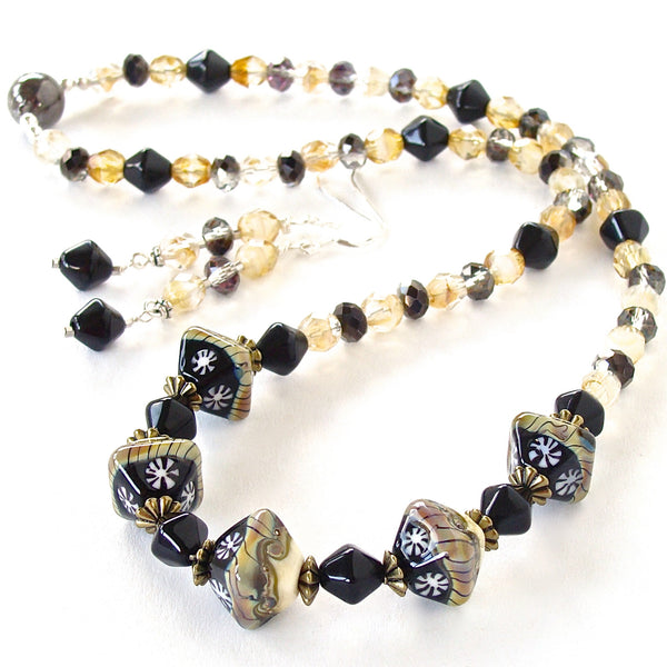 Black Glass Necklace with Magnetic Clasp