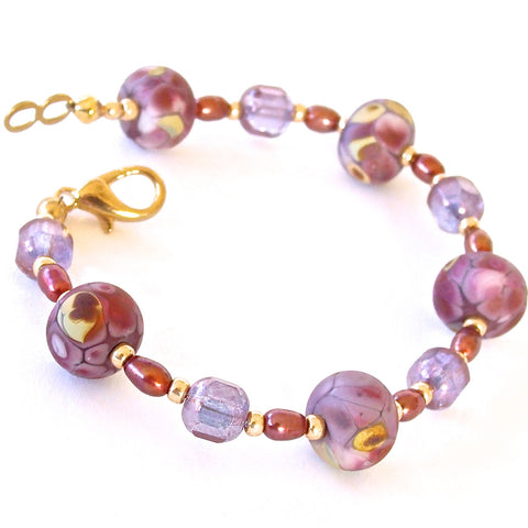 Blossom: Blown Glass Bracelet in Purples