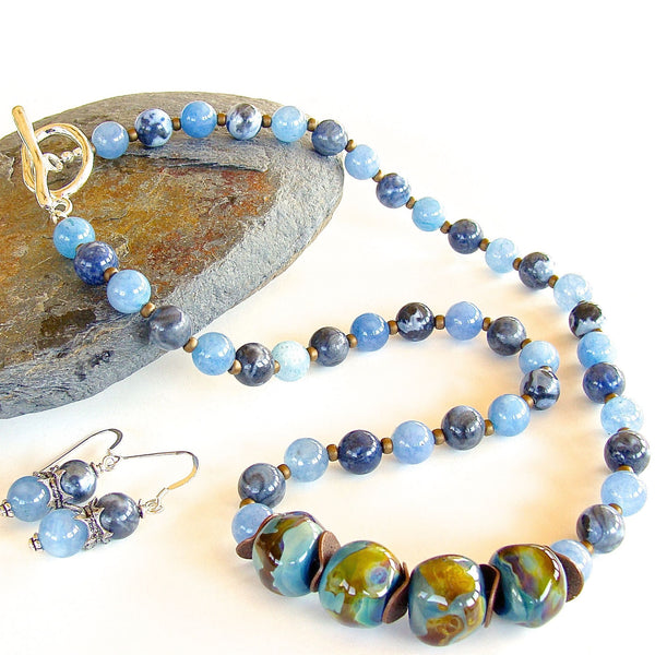 Blue Lampwork Glass Necklace