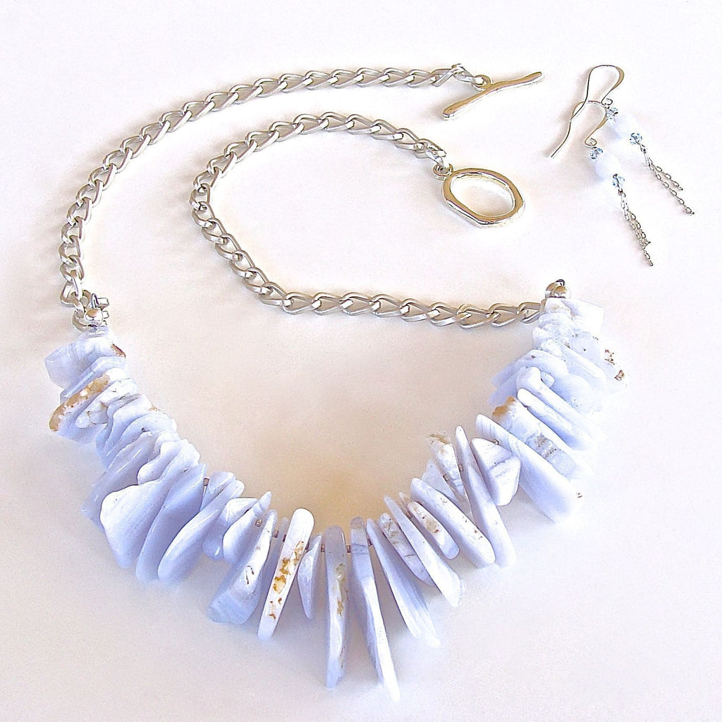 Blue agate slices on chain necklace