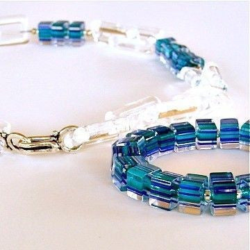Blue and Clear Handmade Necklace Set