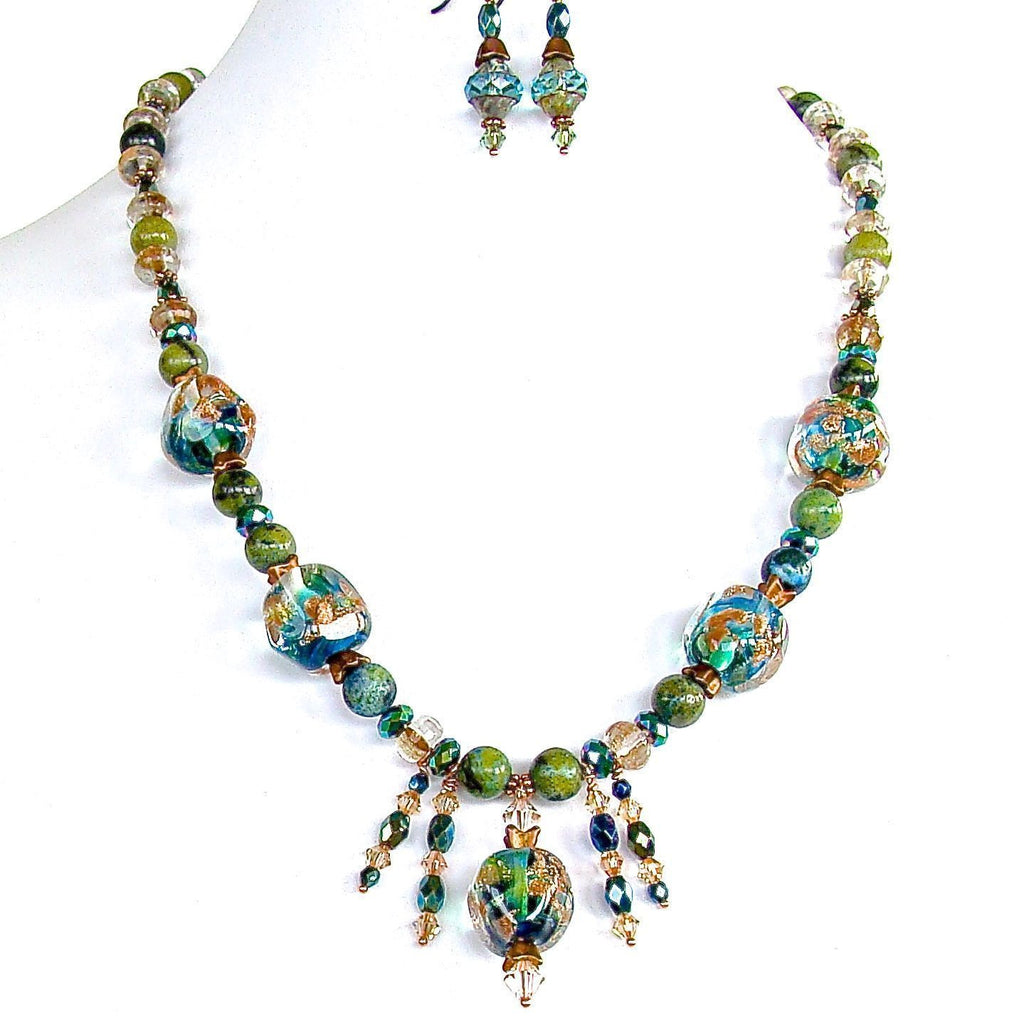Blue and Green Beaded Necklace Set