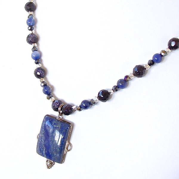 Blue gemstone beaded necklace