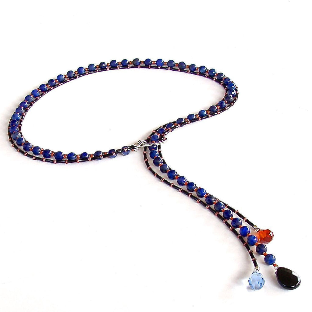 Blue gemstone necklace lariat