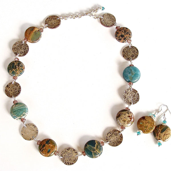 Blue green semi-precious and silver necklace
