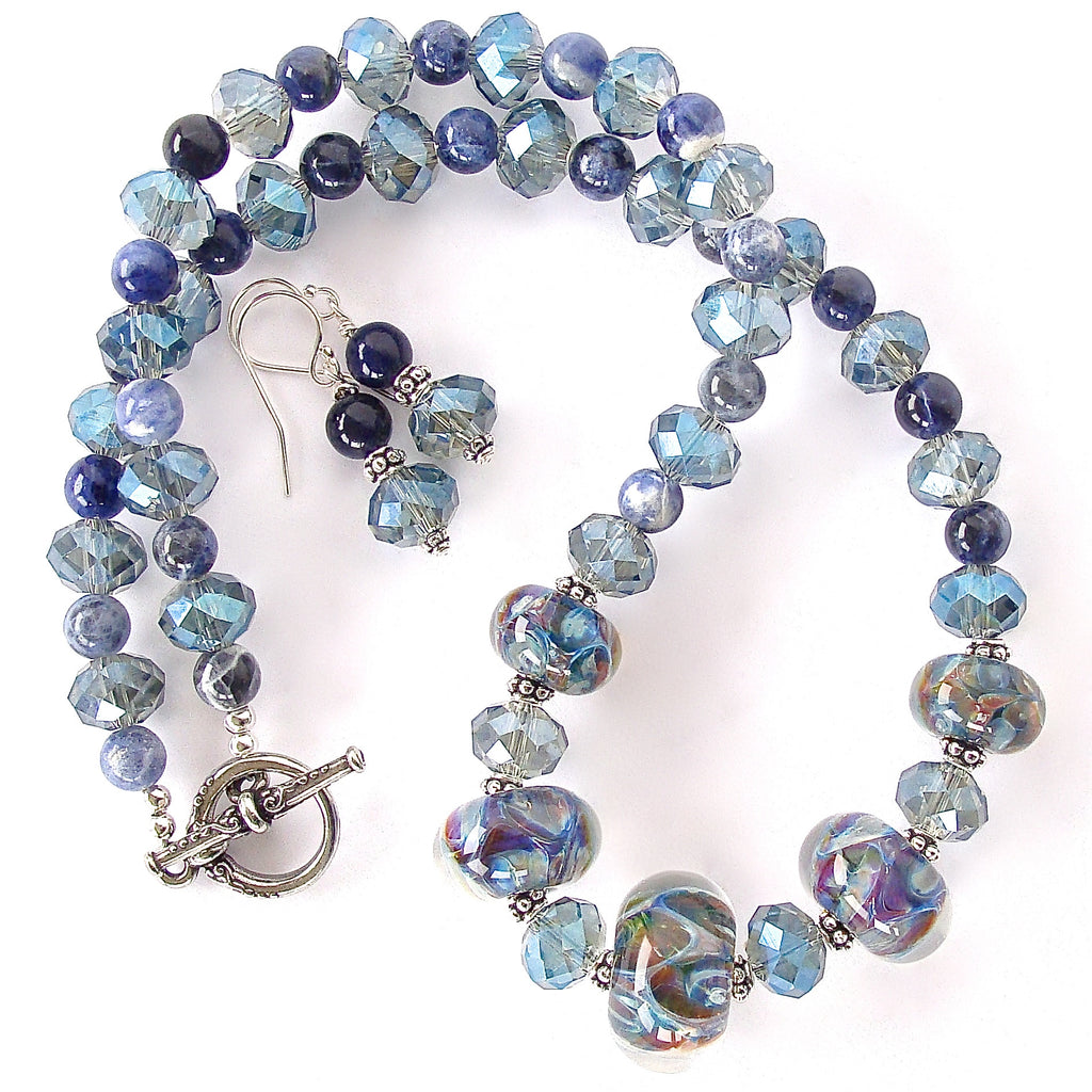 Blue Crystal Necklace Set with Art Glass