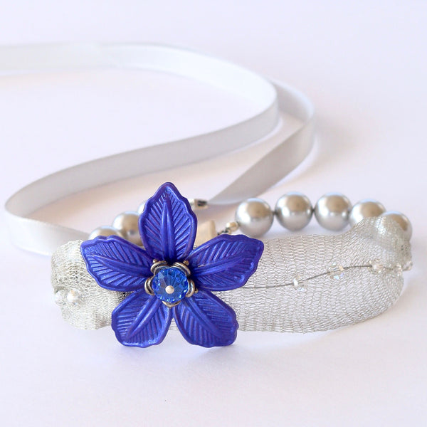 Blue Flower Choker