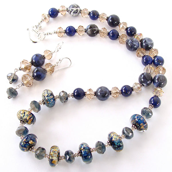 Blue Gem Necklace with Art Glass