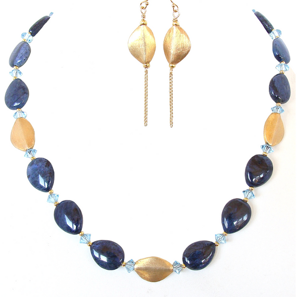 blue and gold necklace set