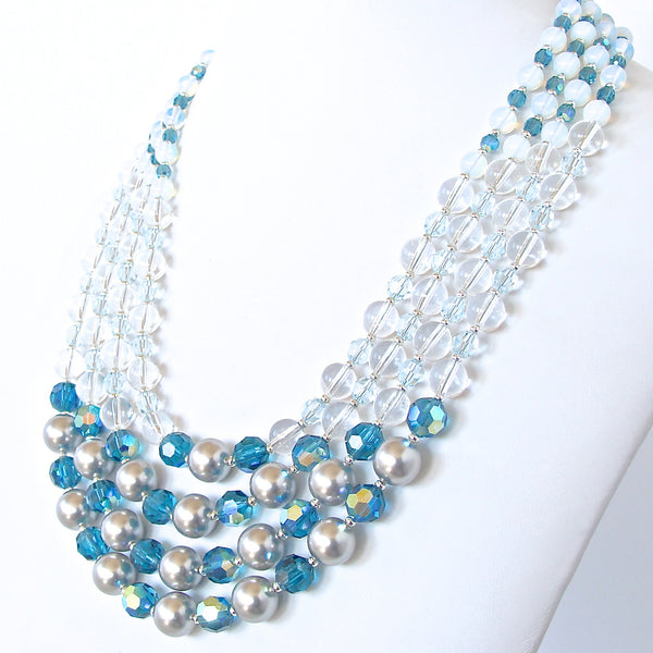 Blue Statement Necklace in Crystal and Pearls