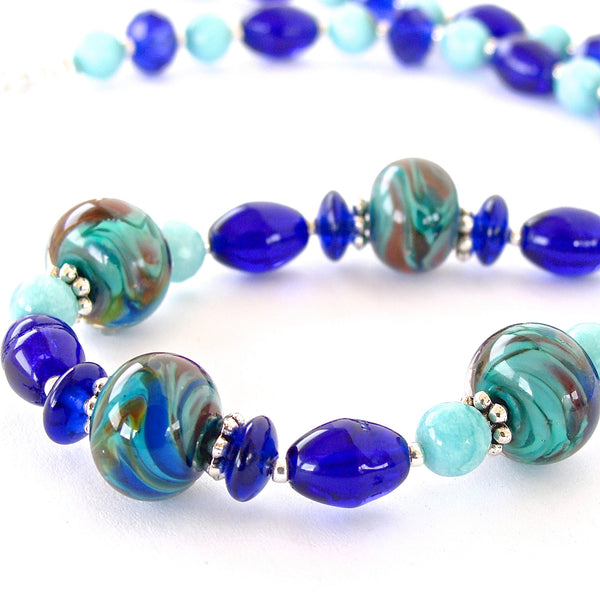 Plymouth: Handmade Cobalt Blue Necklace Set