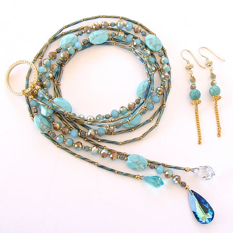 Blue and Green Necklace Set
