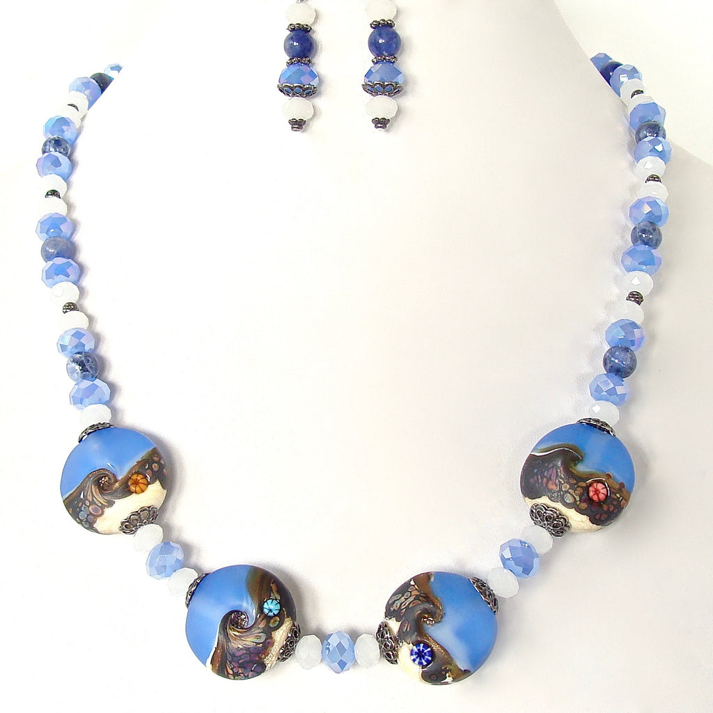 Blue and white necklace