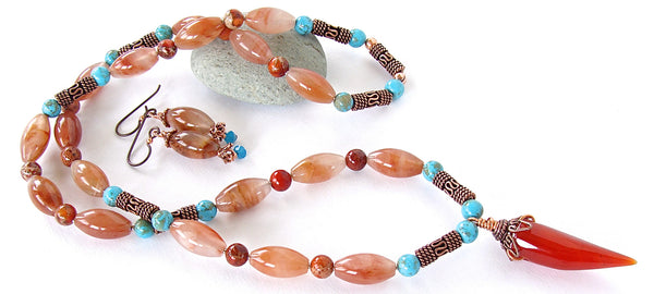 Boho stone necklace set