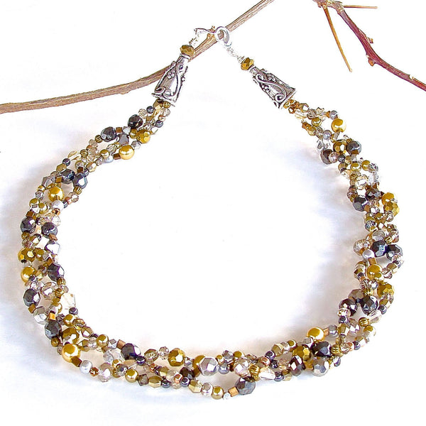 Braided Beaded Necklace Created by Earth and Moon Design
