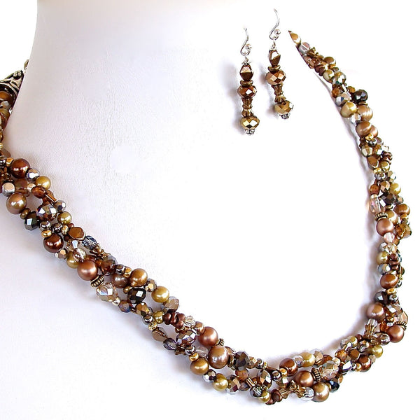 Braided beaded necklace set