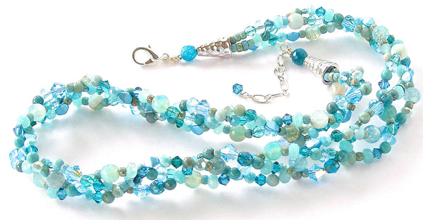 Braided Necklace in Aqua