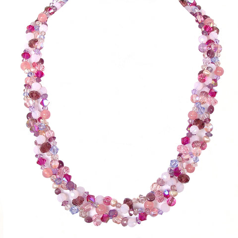 braided necklace in pink and purple