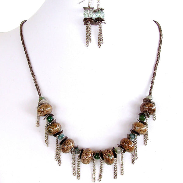Brown and green semi-precious necklace set