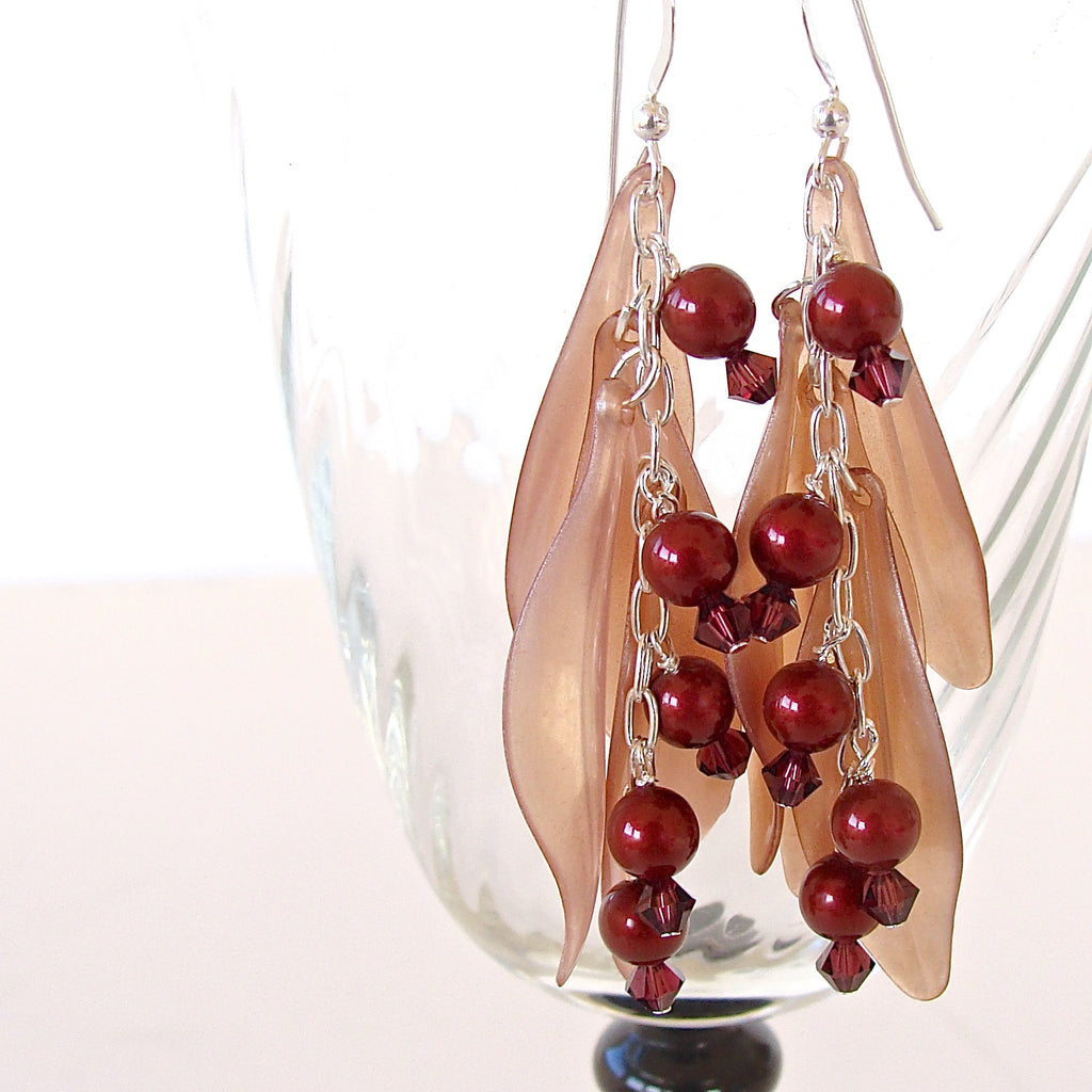 Burgundy earings