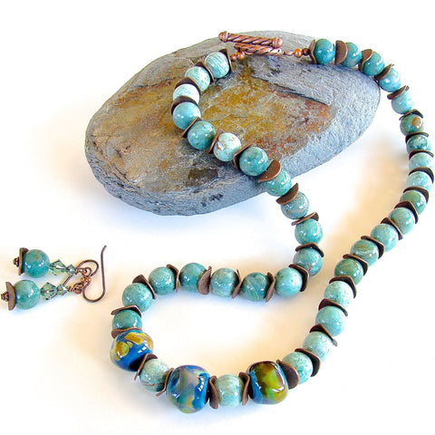 Celadon Ocean Jasper Necklace Set