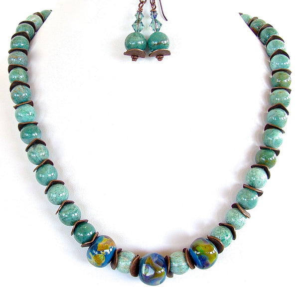 Meadowlark: Handmade Beaded Celadon Necklace Set