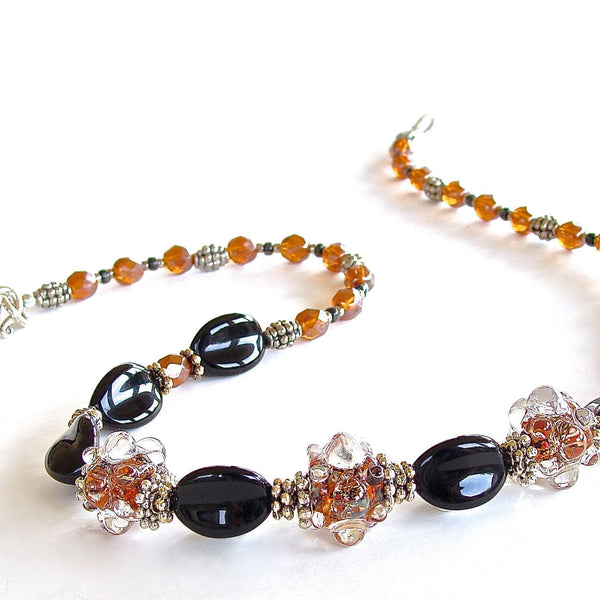Chic black and orange glass necklace
