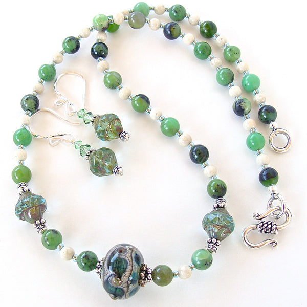 Chrysoprase necklace set