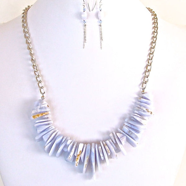 Chunky Light Blue Necklace Set
