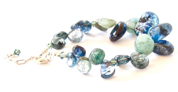 Chunky Bracelet of Blue and Green Gemstones