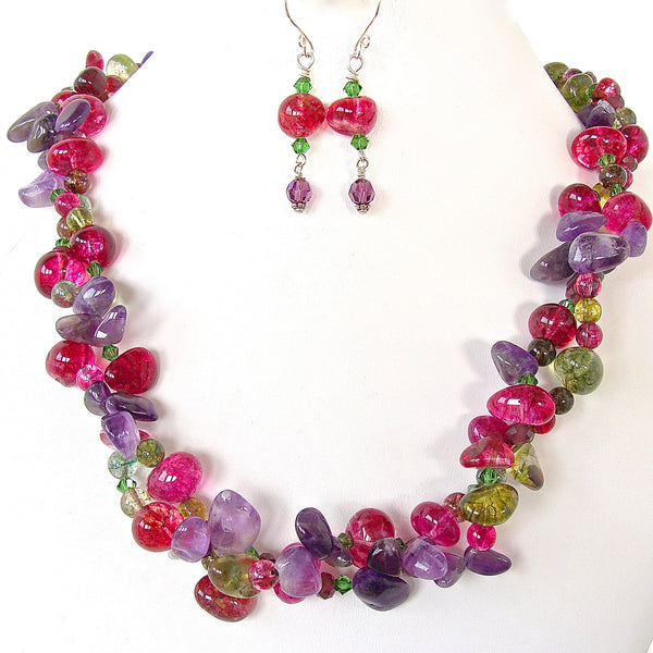 Chunky Gemstone Necklace with Amethyst