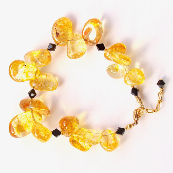 Rizzo: Chunky Gemstone Bracelet in Yellow and Black