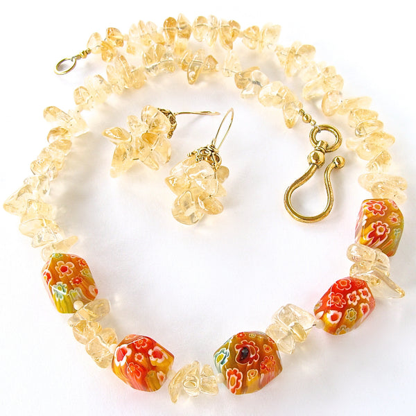 Citrine Gemstone Necklace with Millefiori Glass
