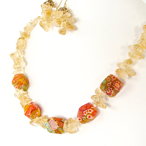 Citrine Necklace with Millefiori Glas