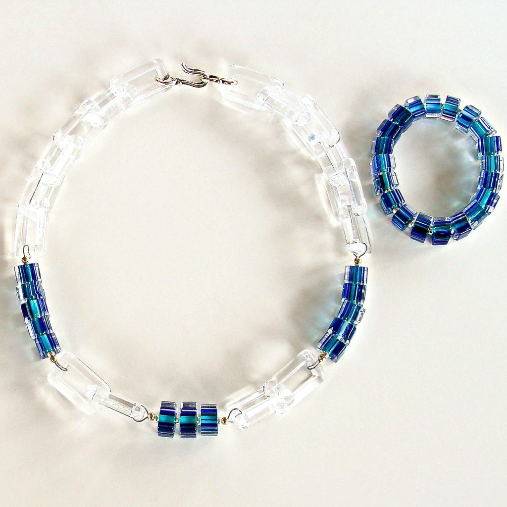 Clear Chain Link Necklace and Bracelet