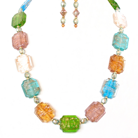 Colorful Necklace Set with Venetian Glass