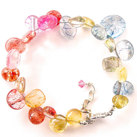 Colorful bracelet of mixed quartz
