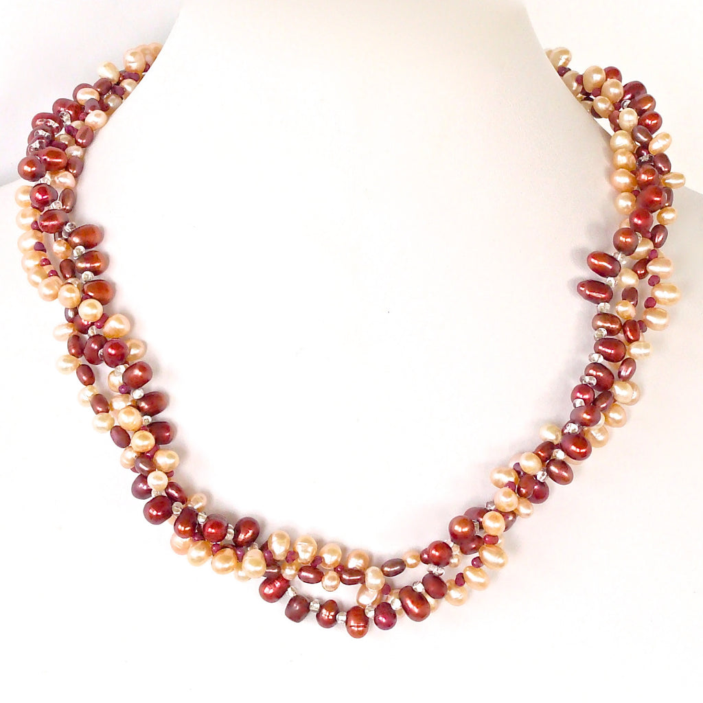 Dancer: Cranberry Pearl Necklace