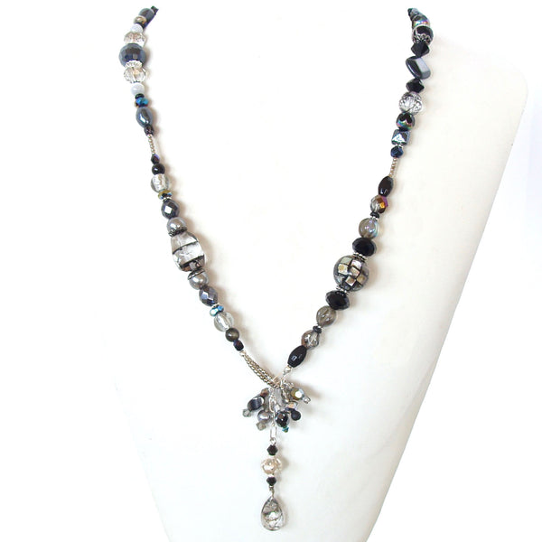 Crystal Black and Clear Necklace