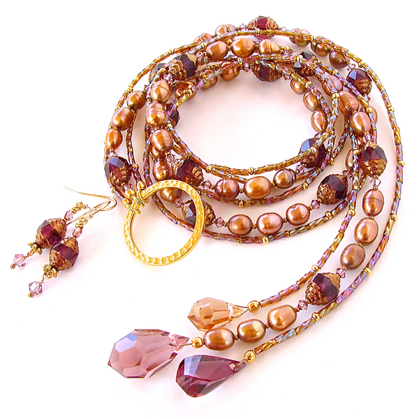 Crystal Lariat Necklace in Purple and Bronze