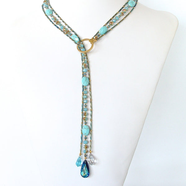 Crystal necklace in blue and green