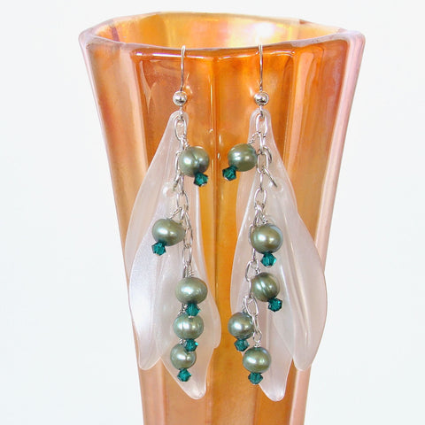 Dangle Earrings in Teal Green and White