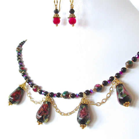 Dark floral beaded necklace