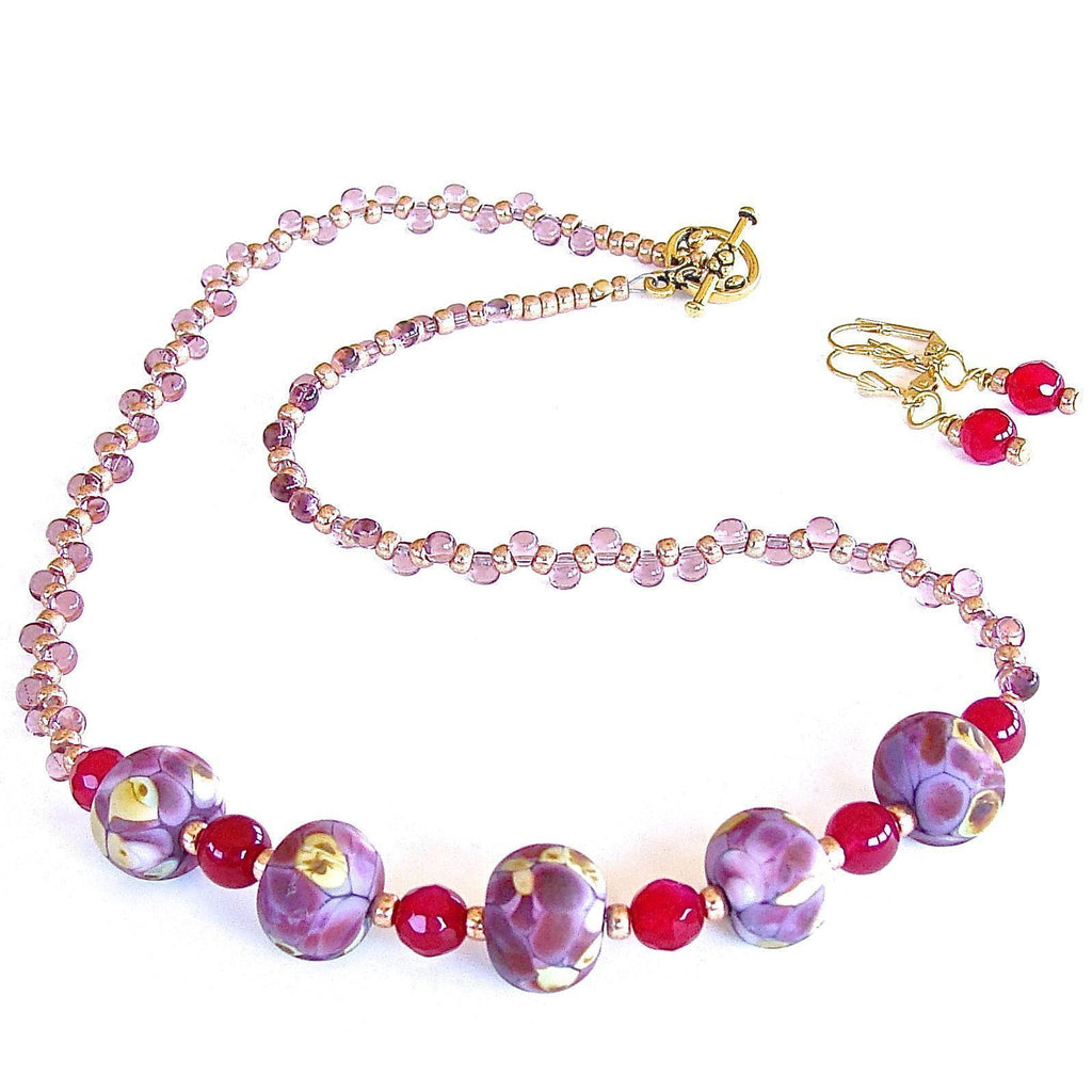 Delicate Beaded Necklace Set in Plum