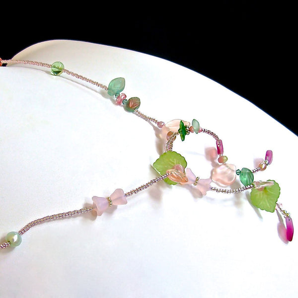 "Tendril: 24"" Green and Pink Necklace"