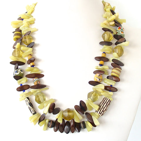 Lemongrass: Double Strand Necklace in Olive Jade