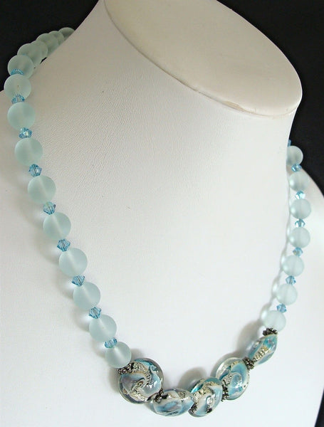 Edgewater 17 inch Handmade Sea Glass Bead Necklace